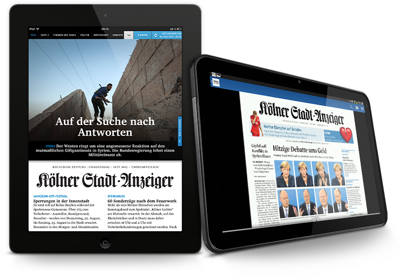 """Zum September 2013 wurde die Gestalt der Tablet-App des """"Kölner Stadt-Anzeiger"""" grundlegend überarbeitet. (Bild:ksta.de)"""