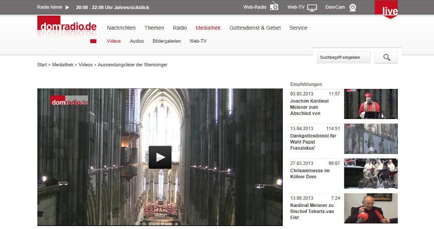Videoclips in der Mediathek von Domradio.de